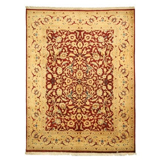 EORC 13155 Red Hand-knotted Wool Peshawar Area Rug (9'1 x 11'10)