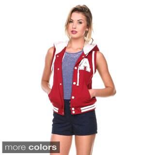 Stanzino Women's Sleeveless Hooded Varsity Vest