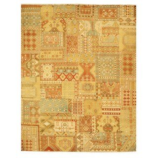 EORC 9027 Multi Hand-knotted Wool Patch Area Rug (9'3 x 11'9)