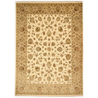 EORC 9012 Ivory Hand-knotted Wool and Silk Tabriz Area Rug (8'11 x 12'4)