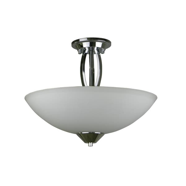 3-light Chrome Semi Flush with Opal Glass
