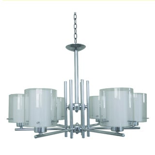 Yosemite Home Decor 6-light Chrome Chandelier with White Inner Glass and Clear Outer Glas