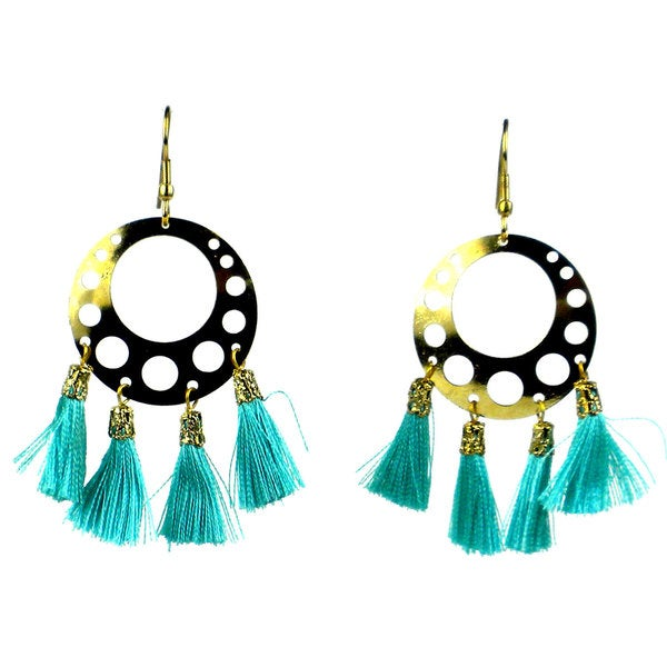 Aqua Tassel Moon Earrings - Mata Traders (India)