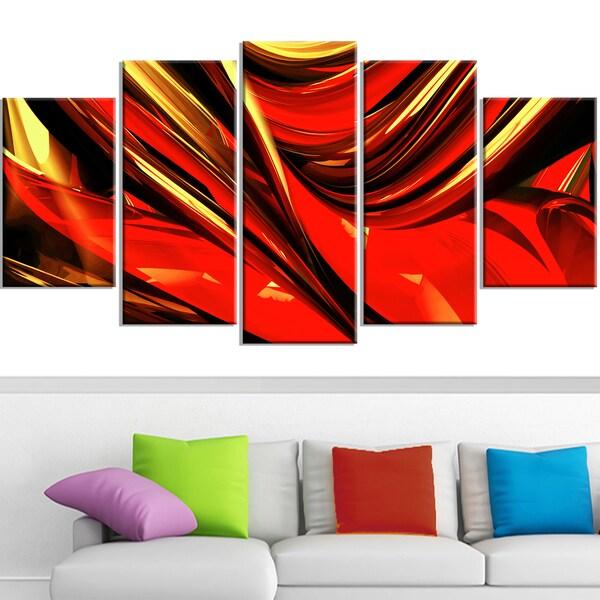 Design Art 'Red Lava Ribbons' Canvas Art Print