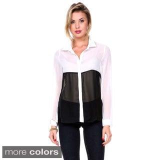 Stanzino Women's Long Sleeve Chiffon Colorblock Button Down Shirt