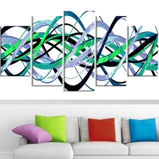 Design Art 'Green and Silver Waves' Canvas Art Print