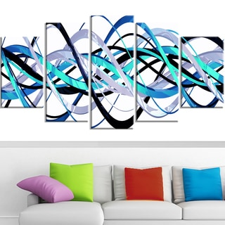 Design Art 'Blue and Silver Waves' Canvas Art Print
