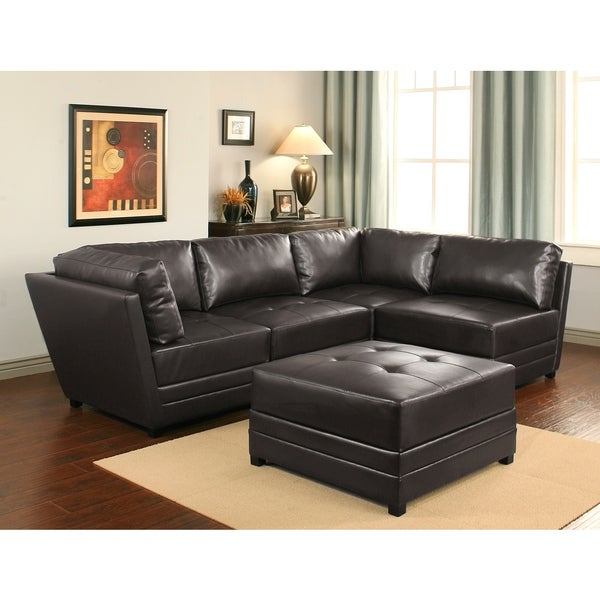 abbyson living victoria 5 piece leather modular sectional 17126180