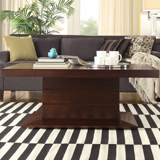 Calvin Dark Mahogany Pedestal Coffee Table