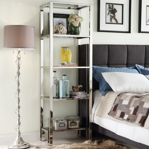Modern bookcase shelves chrome black shelving unique for B q living room shelves