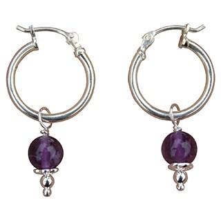 Sterling Silver and Dangling Amethyst Hoop Earrings