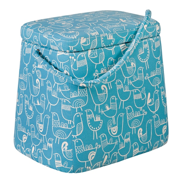 Better Living Purse Storage Ottoman in Teal Blue Bird