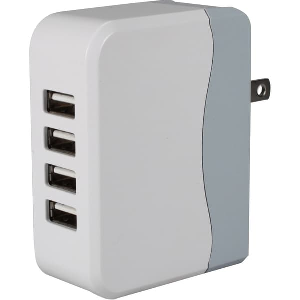 QVS 4-Port 4.5Amp USB Universal AC Charger with Folding Power Plug