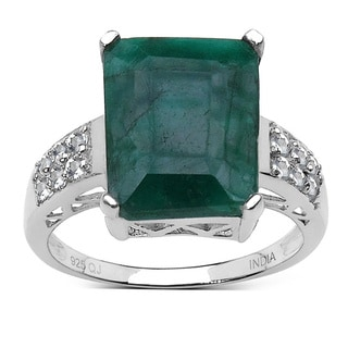 Malaika Sterling Silver Dyed Emerald and White Topaz Ring