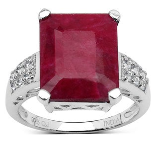 Malaika 7.30 Carat Dyed Ruby and White Topaz Ring in Sterling Silver