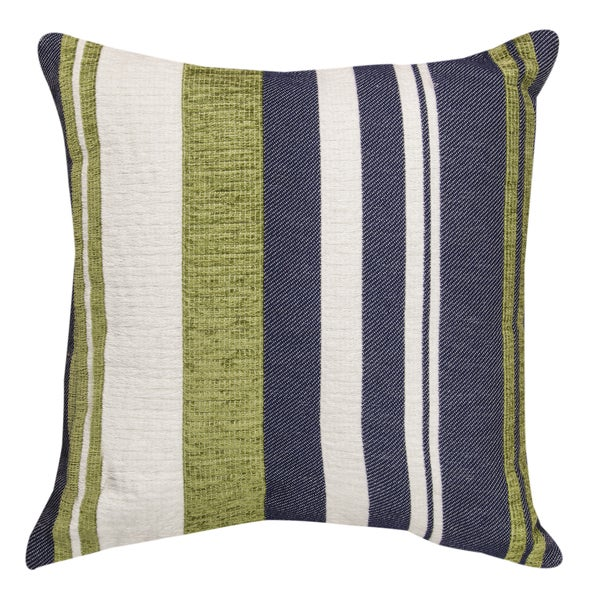 Green/ Blue/ White Striped Throw Pillow