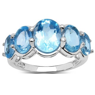 Sterling Silver 5 4/5ct TGW Genuine Blue Topaz Ring