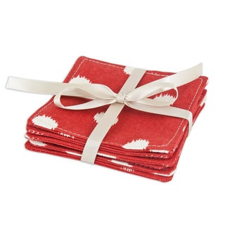 Ikat Dot Red Topstitched Coasters (Set of 6)
