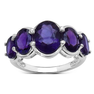 Sterling Silver 4 2/5ct TGW Purple Amethyst Ring