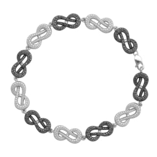 Sterling Silver 1/3ct TDW Black Diamond Infinity Link Bracelet