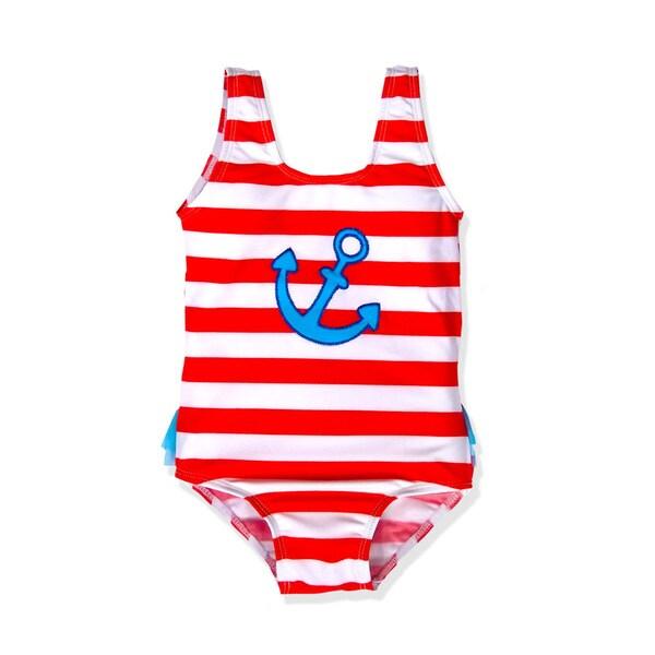Jump'N Splash Girls Anchor Striped One-piece Swimsuit