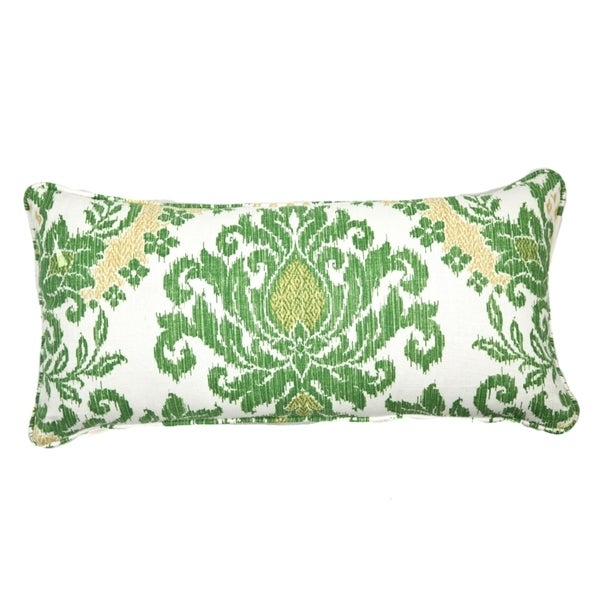 Clover Dazzle Green and White Brocade Cotton Pillow