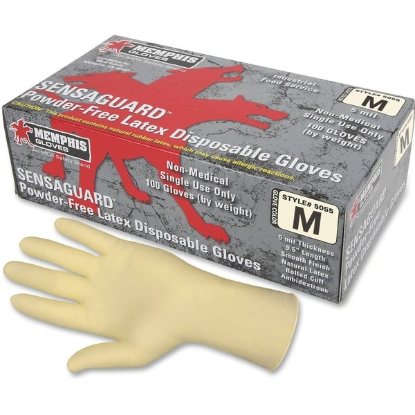 MCR Safety Powder-free Rubber Latex Polymer Gloves Medium Size