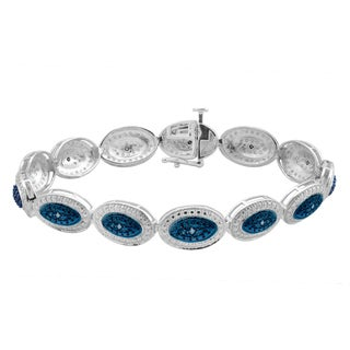 Sterling Silver 1/5ct TDW Blue Diamond Fashion Bracelet