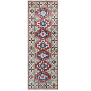 Herat Oriental Afghan Hand-knotted Tribal Kazak Red/ Ivory Wool Rug (2'1 x 5'11)