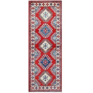 Herat Oriental Afghan Hand-knotted Tribal Kazak Red/ Ivory Wool Rug (2'11 x 5'9)