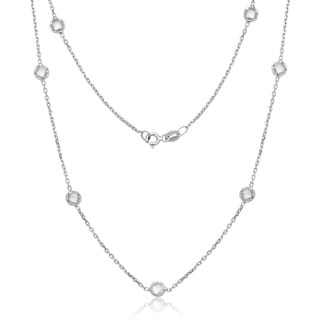 La Preciosa Sterling Silver Bezel-set Cubic Zirconia Station Necklace