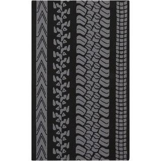 Mike Farrell : Hand-Hooked Otis Stripe Polypropylene Rug (9' x 12')