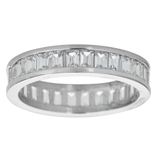 Sterling Silver Micropave Channelset Baguette Cubic Zirconia Eternity Ring
