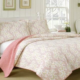 Laura Ashley Cindy Coral Reversible 3-piece Cotton Quilt Set