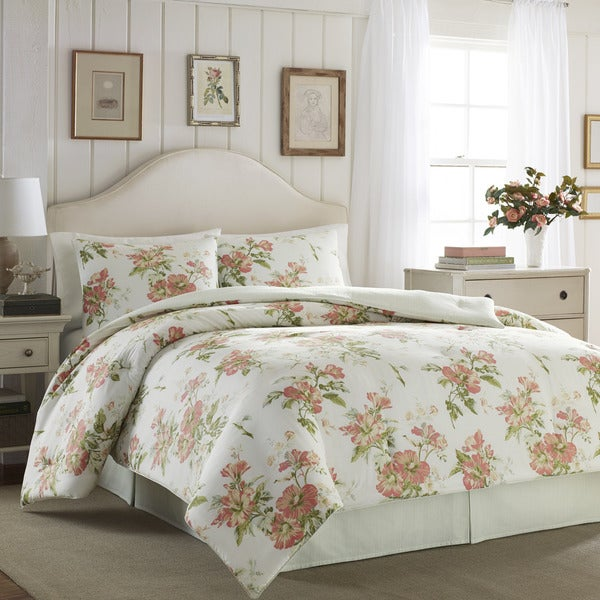 Laura Ashley Spencer Apricot Cotton 4-piece Comforter Set