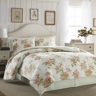 Laura Ashley Spencer Apricot Cotton 4-piece Comforter Set