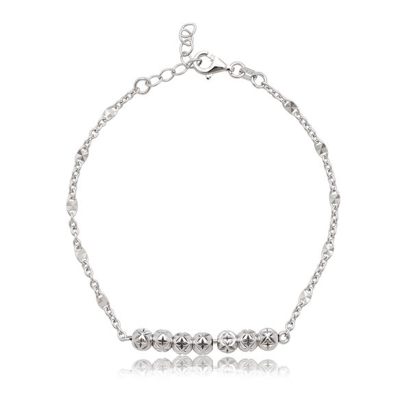 La Preciosa Sterling Silver Diamond-cut Bead Bar Bracelet