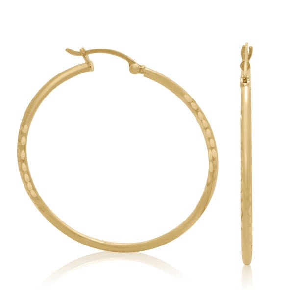 14k Yellow Gold 40mm Hammered Hoop Earrings