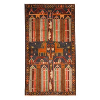 Herat Oriental Afghan Hand-knotted Tribal Balouchi Navy/ Ivory Wool Rug (2'5 x 4'1)