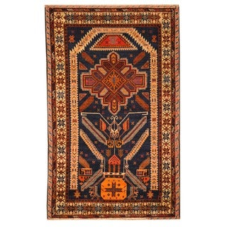 Herat Oriental Afghan Hand-knotted Tribal Balouchi Blue/ Brown Wool Rug (3' x 5')