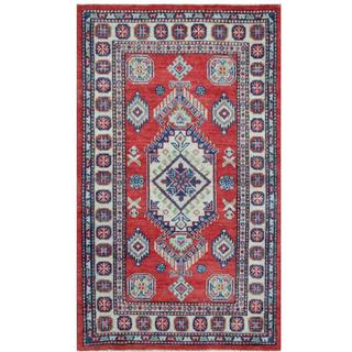 Herat Oriental Afghan Hand-knotted Tribal Kazak Red/ Ivory Wool Rug (3' x 5')