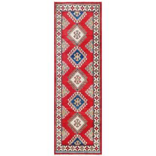 Herat Oriental Afghan Hand-knotted Tribal Kazak Red/ Ivory Wool Rug (2'1 x 6'7)
