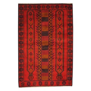 Herat Oriental Afghan Hand-knotted Tribal Balouchi Red/ Blue Wool Rug (3' x 4'5)