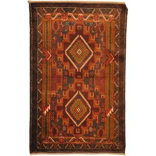 Herat Oriental Afghan Hand-knotted Tribal Balouchi Brown/ Blue Wool Rug (2'7 x 4'2)