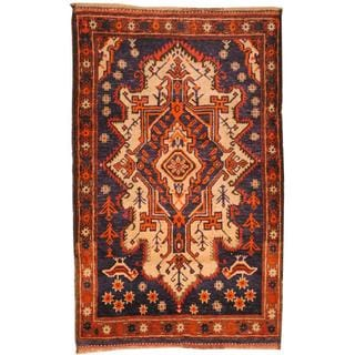 Herat Oriental Afghan Hand-knotted Tribal Balouchi Beige/ Blue Wool Rug (2'10 x 4'6)