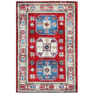 Herat Oriental Afghan Hand-knotted Tribal Kazak Red/ Ivory Wool Rug (1'10 x 2'10)
