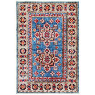Herat Oriental Afghan Hand-knotted Tribal Kazak Rust/ Ivory Wool Rug (1'11 x 2'10)