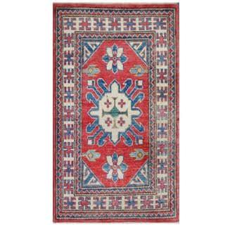 Herat Oriental Afghan Hand-knotted Tribal Kazak Red/ Ivory Wool Rug (1'11 x 3'3)