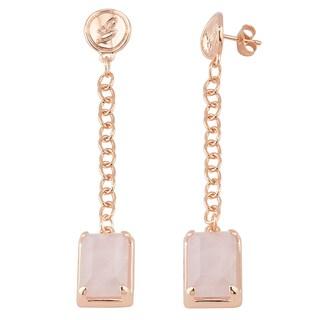 Oro Rosa 18k Rose Gold over Bronze Italian Rose Quartz Dangle Earrings