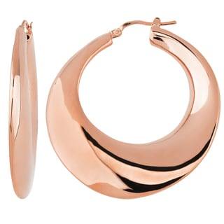 Oro Rosa 18k Rose Gold over Bronze Italian High Polish Moon-shaped Hoop Earrings